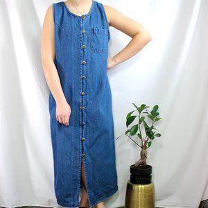 Vintage Jeans Junction Button Down Maxi Dress